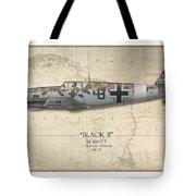 Werner Schroer Messerschmitt Bf-109 - Map Background Tote Bag