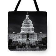 West Front Of The National Capitol Bw Tote Bag