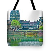 West Gallery From Across Moat In Angkor Wat In Angkor Wat Archeological Park Near Siem Reap-cambodia Tote Bag