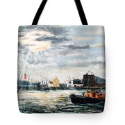 West India Dock Entrance And The Gun Public House Tote Bag