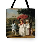 West Indian Landscape With Figures Promenading Before A Stream Tote Bag