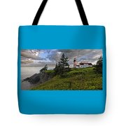 West Quoddy Head Lighthouse Panorama Tote Bag by Marty Saccone