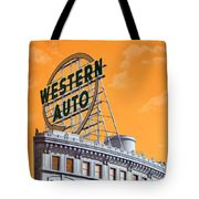 Western Auto Sign Artistic Sky Tote Bag