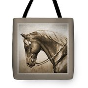 Western Horse Aged Photo Fx Sepia Pillow Tote Bag