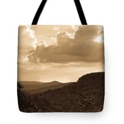 Western Mountain Scene In Sepia Tote Bag