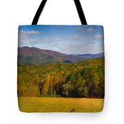 Western North Carolina Horses And Mountains Panorama Tote Bag