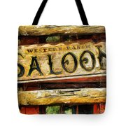 Western Saloon Sign - Drawing Tote Bag