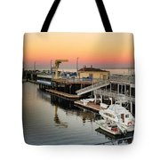 Wharf #2 In Monterey At Sunset Tote Bag