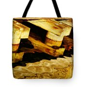 Wharf Reflections In Brown Tote Bag