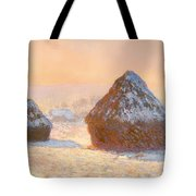 Wheat Stacks - Snow Effect Morning Tote Bag