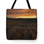 Wheat Stubble Sunset Tote Bag by Mike  Dawson
