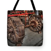 Wheels Of Old Steam Wagon Tote Bag