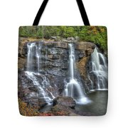 When Light And Water Falls-2a Three Cascades Over Blackwater Falls State Park Wv Autumn Mid-morning Tote Bag