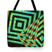 When Squares  Merge Green Tote Bag
