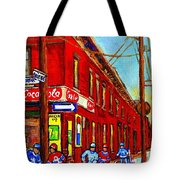 When We Were Young - Hockey Game At Piche's - Montreal Memories Of Goosevillage Tote Bag