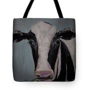 Whimisical Holstein Cow Original Painting On Canvas Tote Bag
