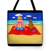 Whimsical Beach Seashore Woman And Dog Tote Bag