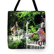 Whimsical Carousel Horse Fence Tote Bag
