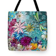 Whimsical Floral Flowers Dragonfly Art Colorful Uplifting Painting By Megan Duncanson Tote Bag