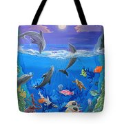 Whimsical Original Painting Undersea World Tropical Sea Life Art By Madart Tote Bag