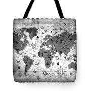 Whimsical World Map Bw Tote Bag