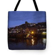 Whitby Lower Harbour And The Rnli Lifeboat Station At Night Tote Bag