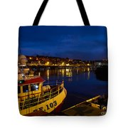 Whitby Upper Harbour At Night Tote Bag