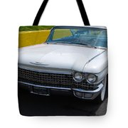 White 1960 Caddy Tote Bag