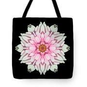 White And Pink Dahlia I Flower Mandala Tote Bag