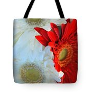 White And Red Flowers Tote Bag