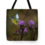 White And Yellow Butterfly On Thistl Tote Bag