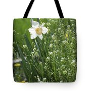 White And Yellow Daffodil Tote Bag