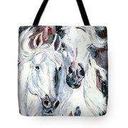 White Arabians Tote Bag
