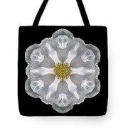White Beach Rose IIi Flower Mandala Tote Bag