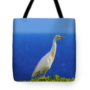 White Bird Green Plants Blue Sea And Sky Tote Bag