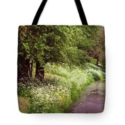 White Bloom Along The Dutch Canal. Netherlands Tote Bag
