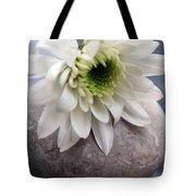 White Blossom On Rocks Tote Bag by Linda Woods