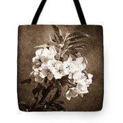 White Blossoms - Sepia Tote Bag