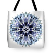 Blue Globe Thistle I Flower Mandala White Tote Bag