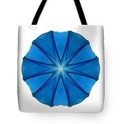 Blue Morning Glory II Flower Mandala White Tote Bag