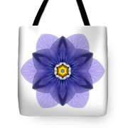 Blue Pansy I Flower Mandala White Tote Bag