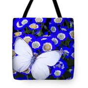 White Butterfly In Blue Flowers Tote Bag