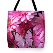 White Butterfly On Pink Gerbera Daisies Tote Bag
