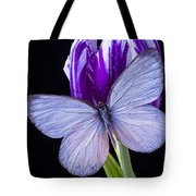 White Butterfly On Purple Tulip Tote Bag