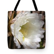 White Cactus Bloom Tote Bag