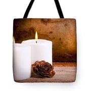 White Candles With Rose Tote Bag