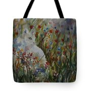 White Cat In Flowers Tote Bag