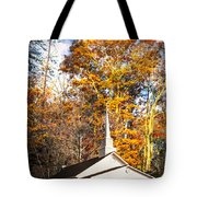 White Church In Autumn Tote Bag