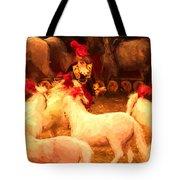 White Circus Ponies Tote Bag