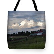 White Clouds Over The Farm Tote Bag